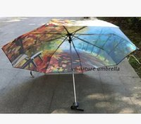 autumn leaf fabric - Painting umbrella oil painting vintage traditional chinese painting umbrella new fashion trend autumn Maple Leaf
