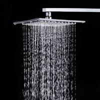Wholesale 12 quot Ultra thin Stainless Steel Mirror Surface Square Shower Head SUS304 Bathroom Bath Rainfall Over Head Shower Faucet