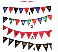 Wholesale 50pcsSpiderman superman batman pennant flag Superhero Party Flag kids birthday party decoration Superhero banner triangle flag