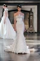 Wholesale Inbal Dror New Fall Winter Sexy Mermaid Wedding Dress Strapless Neckline Flowers Sleeveless Lace Bridal Gown Court Train Lace and Tulle
