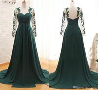 Vestidos de noche modesta mangas largas Green Hunter gasa 2016 baratos vestidos de fiesta formal árabe baile de fin de curso más Vestidos de tamaño Celebrity Collar