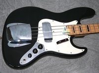Wholesale Best selling Hot1973 Jazz Bass Black with Black Blocks FEB0264 Excellent Quality