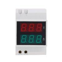 Wholesale Digital Din Rail LED Voltage Ammeter Current Meter Voltmeter AC200 V A Dual Display