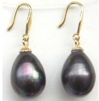 Wholesale real rare AAA x13mm BLACK Tahitian natural Pearl Dangle Earring K box