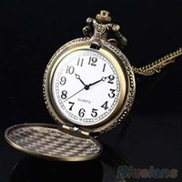 Wholesale Retro Vine Unique Bronze Quartz Pendant Chain Necklace Clock Pocket Watch K3O