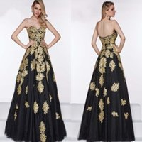 embellishments - 2015 Ball Gowns with Gold Appliques Embellishment Sweetheart Low Back Sweet Sixteen Prom Dresses Special Occasion A Line Evening Dresses