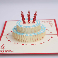 Wholesale hot sale D birthday cake Greeting Cards with envelope