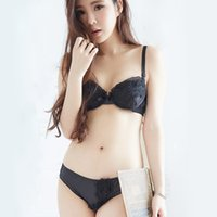 angels panties - Fashion new arrival female black white women push up Bra Set young girl princess flower lace solid bras and panties dream angels