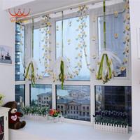 Wholesale Wavors Transparent Door Windows Curtain Chrysanthemum Tulle Drape Panel Sheer Scarf Valance