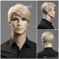 Wholesale Synthetic Wigs For Men - full cap blonde wig for men short fashion style 2014 new arrival Synthetic fiber of 100% Kanekalon 1pc Lot Free Shipping 0729ZL11-22