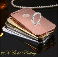 For Apple iPhone galaxy note 2 - 2 in Metal Bumper Case with Electroplating Acrylic Mirror Back Cover Case For Iphone g iphone Plus Samsung Galaxy Note