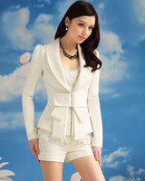 Wholesale Long Sleeve Women s White Blazers Suit With Big Bow Lapel Neck Puff Sleeve OL Work Suits Outwear Winter Christmas Coat Jacket promotion