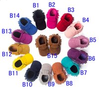 baby blue crib - New PU Suede Leather Newborn Baby Boy Girl Baby Moccasins Soft Moccs Shoes Bebe Fringe Soft Soled Non slip Footwear Crib Shoe12pair
