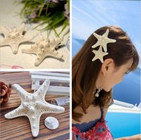 Wholesale Womens Girls Pure Natural Starfish Beach Sea Star Hairpin Sweet Hair Clip Lovely Barrette holiday edge clip