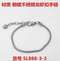 Wholesale Smooth Clips Snake Chain bracelet Stainless steel plating which never fade bangle Lobster clasp fit European Pandora charms beads chain