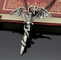beaded dragon fly - 2015 HOT Men s Flying Dragon Sword Titanium Stainless Steel Pendant Necklace