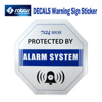 alarm warning stickers - 50pcs Home Security GSM Alarm System Waterproof Blue DECALS Warning Sign Sticker