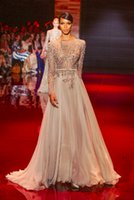 dresses uk - Hot Sale Evening Gowns High Neck Backless A Line Chiffon UK Prom Dresses with Long Sleeve Elie Saab Real Image Celebrity Dress