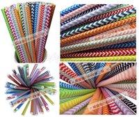 Wholesale Via Fedex EMS Choose Colors Paper Drinking Straws Polka Dot Chevron Stripe Star For Party Decoration