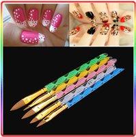 Cheap 5pcs Set 2-Way Acrylic Nail Art Pen Brush Cuticle Tips Set Nail Art Design Painting Pen Brush