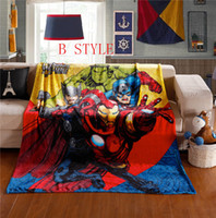 Wholesale 13 style X150CM Avengers Iron Man Captain America SpiderMan Fashion Printed Soft Blanket sheets quilt comfortable Blanket woollen w110B2