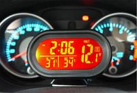 Wholesale Car Battery Voltmeter Voltage Meter Tester Monitor V V Digital Auto Car Thermometer Noctilucous Clock Freeze Alert