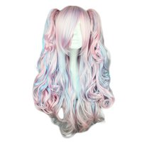 Kyoko Lolita pelucas de cuerpo de onda de alta temperatura Bang Blue Pink Icecream Colores Cosplay Coser Love Hairpieces