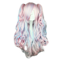 bangs hairpiece - Kyoko Lolita Wigs Body Wave High Temperature Bang Blue Pink Icecream Colors Cosplay Coser Love Hairpieces