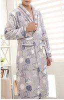 Wholesale Free ship mens Bathrobe super soft robes nightwear core fleece fiber natural sailing boat pattern plus size eco friendly microfiber