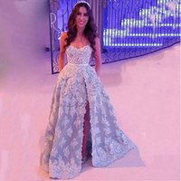 arabian fashion designers - Arabian Designer Young Blue Sweethart Appliqued Side Slit Lace Long Prom Dresses Sweetheart Fashion Evening Gown