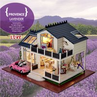 Wholesale Doll House Include Dust Cover PROVENCE Miniature Wooden Building Model Dollhouse Furniture Model Toys Christmas Brithday Gift