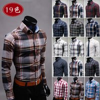 argyle dress - mens shirts fashion Cultivate one s morality plaid Brand shirt Leisure men s cotton long sleeve shirt grid