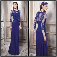 purple mother of bride dress - 2016 Dark Navy Mother of the Bride Dresses Sheer Neck Illusion Sleeves Lace Applique Chiffon Mother of Groom Dresses Women Dresses