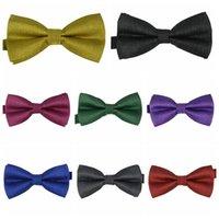 Wholesale 100 High Quality Adult Men s Bow tie Silver Gown Upscale Party Monochrome Tie Solid Color Jacquard Marriage Neck Tie Bowtie