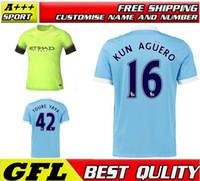 manchester - Top Thai Manchester City Soccer Jersey Futbol Camisa kun Aguero SILVA Dzeko Kompany TOURE YAYA Football Shirt Kit Camiseta