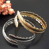 Wholesale 2015 New Hot Gothic Gold Plating Casual Maple Leaf Shape Metal Fashion Women Jewelry Cuff Bangles Accessories B359