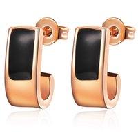 accessory com - Stud Earrings k Rose Gold Women Accessories White Gold Plated Earring Black Brincos Com Pedras Jewelry for GirlR344