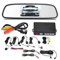 Wholesale 12V Parking Sensors Back up Parking Assistance quot TFT LCD Display Camera Car Rearview Mirror Reverse Radar System