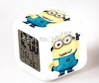 Wholesale 2015 Hot Sales Lovely Minion Alarm Clock With Changing Colors Cute Cartoon LED Clock Students Clock
