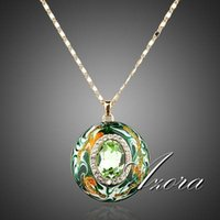 crystal pendants - AZORA K Real Gold Plated Stellux Austrian Crystals Oil Painting Pattern Design Pendant Necklace TN0007