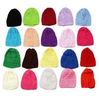 Cheap 50pcs Toddler crochet photo prop Hat Soft Waffle Stretch Crochet Baby Caps Hair Accessories Free Shipping MZ9101