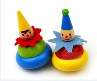 Wholesale 2015 Kid Clown Spinning Top Wood Children Baby Boys Girls Wooden Joker Rotate Toys Babies Clowns Rotation Toys Boy Girl Wood Cars Toy D3640