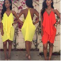 Wholesale 2015 Summer Straps Halter Lotus Leaf Chiffon Irregular V Neck Women Mini Dress Street Style Plus Size Casual Vestidos Nightclubs Bodycon