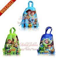 34*27cm bag stories - Cute New Hot Sale Toy Story Non woven Fabric Children Drawstring Backpack School Bags Without handle cm Party Favors