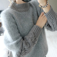 Wholesale 2015 autumn and winter female Korean short paragraph sweater sleeve shirt half twist angora sweater with high collar hedging thicken female