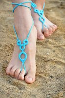 Wholesale New fashion hot sale summer Handmade cotton barefoot crocheted sandals anklet