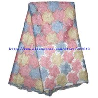 Wholesale 5Yd African cotton guipure Lace Fabric african water soluble lace fabric peach color french lace for wedding