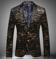 Wholesale 2015 Men s coats Men s Blazers Leopard gold blazer men suit high quality men s velor Married suit plus blazer slim man size M XXXL
