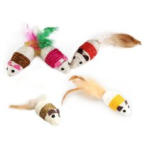 Wholesale Funny Pet Cat Dog Toy Cute Design Hemp Rope Feather Mouse Ribbed Rattles Pet Playmate Cat Dog Toys