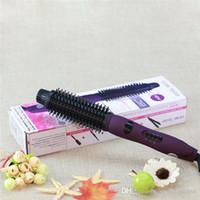 Wholesale Hair Styler Ionic Hot Brush Ceramic Flat Iron Purple Curling Iron Hair Straightener Brush Tourmaline Ceramic Comb With Logo Packing